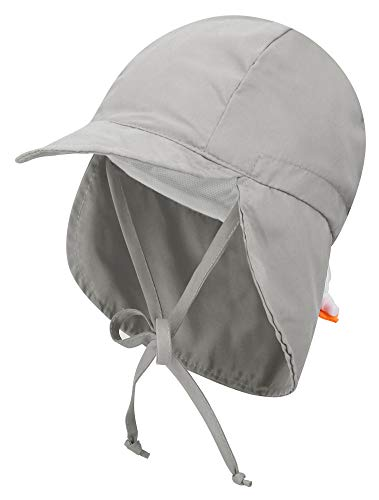 Livingston Baby Sun Hat Kid's SPF 50+ UV Sun Ray Protective Safari Hat w/Neck Cover, Grey