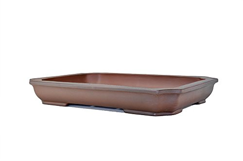 Extra Large Unglazed Antiqued 16.5'' Shallow and Thin Rectangular Yixing Zisha Ceramic Porous Bonsai Pot(K11)