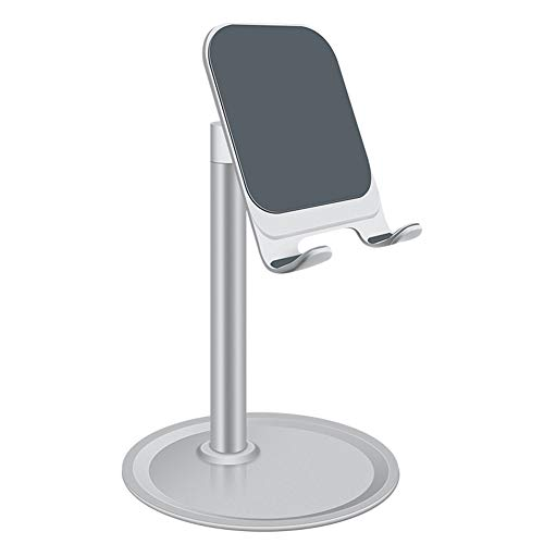 Cell Phone Stand for Desk, Cell Phone Stand Adjustable Desk Phone Holder Tablet Holder (Silver)
