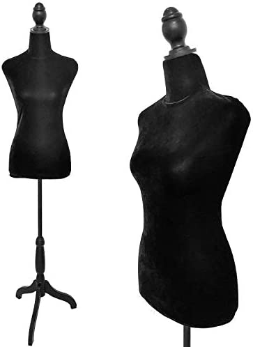 Mannequin Body Torso with Tri-Pod Stand Half-Length Foam /& Brushed Fabric Coating Lady Model Mannequin Body Form for Clothing Display Black