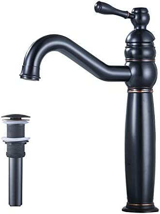GGStudy Oil Rubbed Bronze Bathroom Faucet 360 Swivel Single Handle One Hole Tall Body Bathroom Vessel Sink Faucet With Drain Assembly