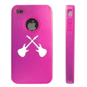Apple iPhone 4 4S 4 Hot Pink D2705 Aluminum & Silicone Case Cover Guitars
