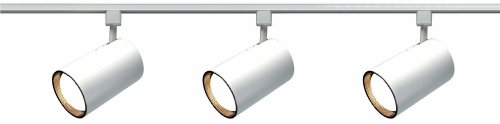 Nuvo Lighting TK318 3-Light R30/PAR30 Longneck Straight Cylinder Track Light Kit, White - 4' Round Power Feed Canopy