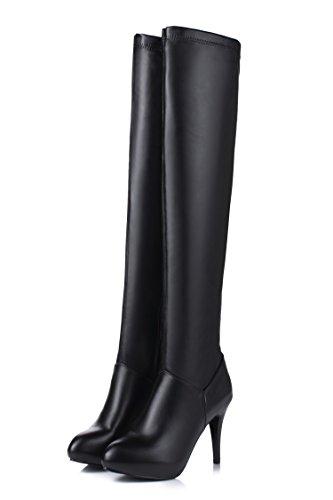 Musta Pitkä Cxq Naisten Stiletto amp; Saappaat Korkokengät Kengät Qin Saappaat X wqw7pav6