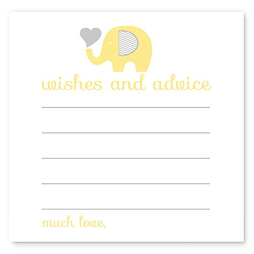 Yellow Elephant Wishes & Advice Cards Baby Shower Game (25pc.) (Mod Invite)