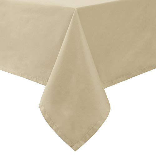 Hiasan Homedocr Leakproof Rectangle Tablecloth with Black TPU Backing – Water Resisitant Spillproof Washable Fabric Table Cloth for Kitchen and Dining Room, Light Khaki, 54 x 80 Inch