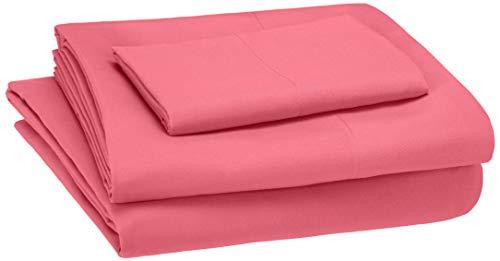 AmazonBasics Kid's Sheet Set – Soft, Easy-Wash Microfiber – Twin, Hot Pink