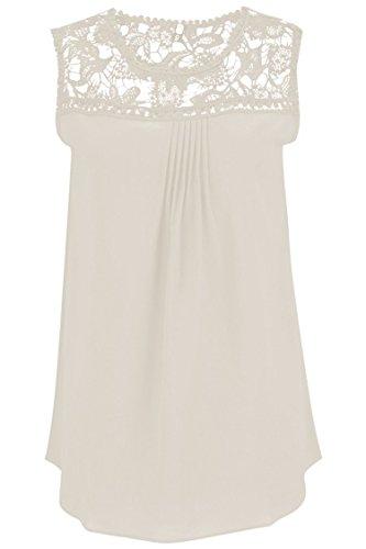 Manzocha Women's Lace Chiffon T Shirt Stitching Blouse Hollow Out Tops – Medium, Beige