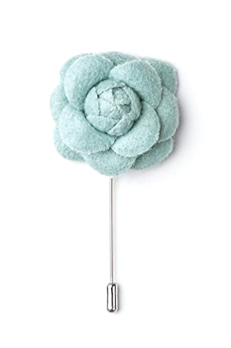 Handmade Wool Felt Flower Boutonniere for Suits/Weddings/Grooms - Comes in Nice Gift Box - Mint Green