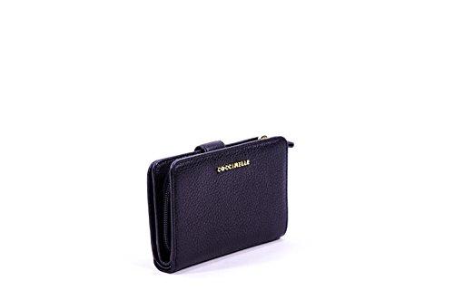 Leather Wallet Woman Black Soft Coccinelle Metallic Rw6xCZS