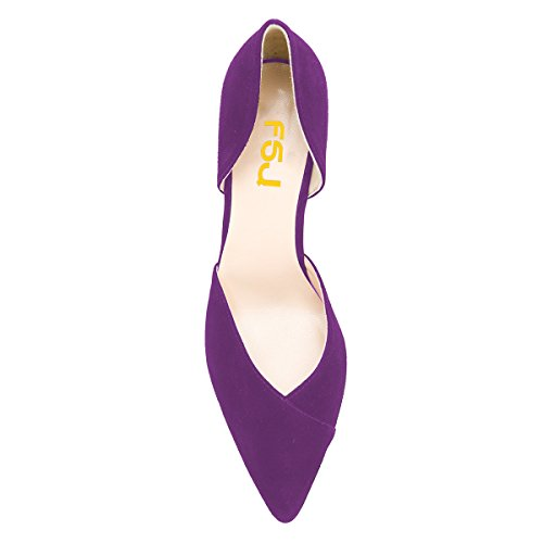 FSJ Women Elegant Pointed Toe D'Orsay Pumps Chunky High Heel Office Lady Comfy Dress Shoes Size 4-15 US Purple wide range of cheap price cheap sale view low shipping fee countdown package for sale free shipping best sale seBgEI