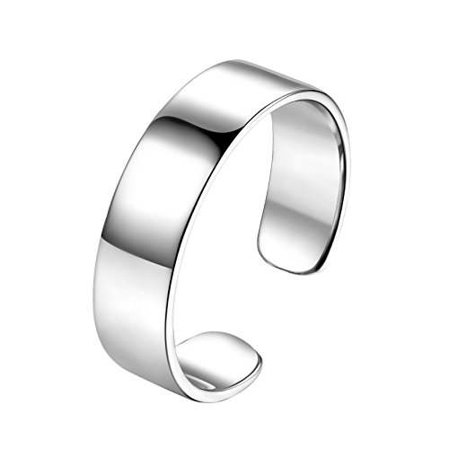 SILBERTALE Sterling Silver Wide Above Knuckle Open Toe Finger Ring Band Cuff Thumb Ring 6mm Width US Size 5-7 (Silver Above Knuckle Rings)