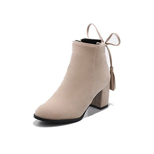 BalaMasa Womens Ankle-High Fringed Ribbons Urethane Boots ABL10648 Beige cwKfpB7oD6