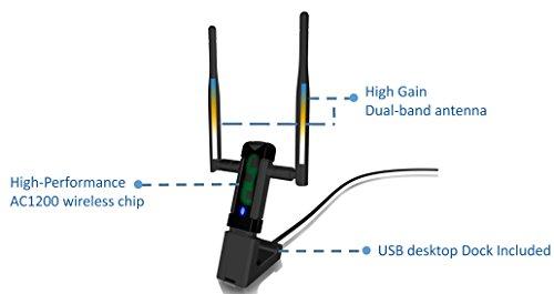 Alfa Long-Range Dual-Band AC1200 Wireless USB 3.0 Wi-Fi Adapter w/2x 5dBi External Antennas - 2.4GHz 300Mbps / 5Ghz 867Mbps - 802.11ac & A, B, G, N by Alfa (Image #4)