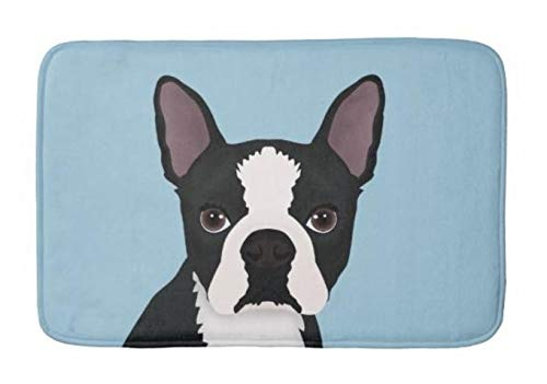 (Lovestand-Doormat Welcome Mat Indoor/Outdoor Bath Floor Rug Decor Art Print with Non Slip Backing 16X24 inch Boston Terrier Cartoon Bathroom mat)
