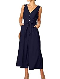 NANYUA Women Party V Neck Sleeveless Wide Leg Pants Jumpsuit Romper with Belt