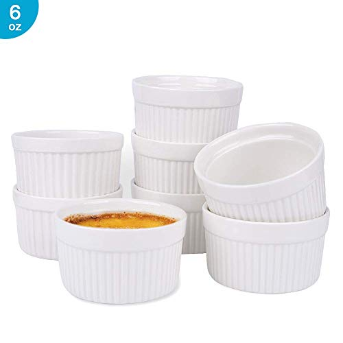 - 6 Oz Ramekin Bowls,8 PCS Bakeware Set for Baking and Cooking, Oven Safe Sleek Porcelain White Ramikins for Pudding, Creme Brulee, Custard Cups and Souffle Small instant table tray