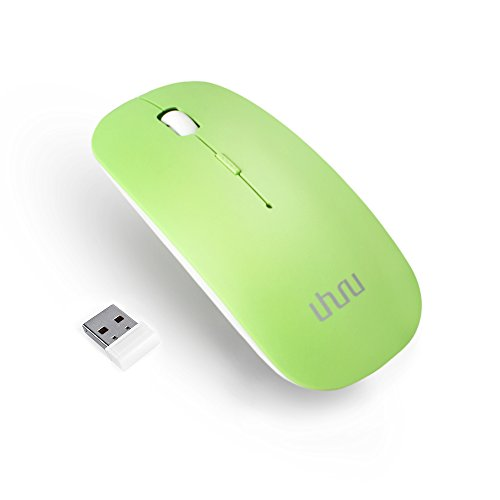 UHURU Rechargeable Wireless Mouse for PC, Mac, Laptop, Android Tablet (Rechargable 2.4G Wireless Mouse, Green)