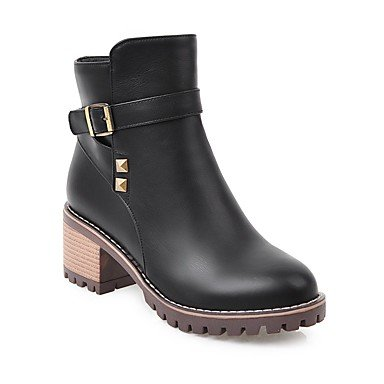 US7 Round Bootie EU38 RTRY Fall 5 Buckle Boots Ankle Rivet Boots Toe Combat Chunky 5 Leatherette Women's Boots Booties UK5 Fashion Heel Shoes Boots CN38 Winter Fx0wRqBF