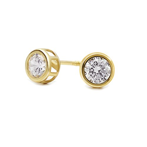 14K Yellow Gold 5mm Round Cubic Zirconia Bezel Screwback Stud Earrings ()