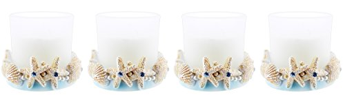 - Set of 4 Fashioncraft Coastal Sea Shell Candle Holders with Candles