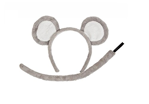 Wicked Adults Mouse Ears & Tail Animal Fancy Dress Accessory Set -