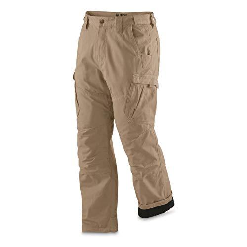 Guide Gear Men's Fleece Lined Canvas Work Pants, Khaki, W34 L30