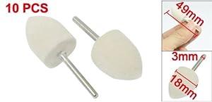 eDealMax Herramientas 10 piezas DE 3 mm Buffering caña 18mm Dia. Cónico de fieltro Duro Bobs