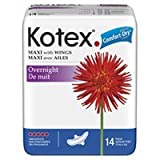 Kotex Overnight Pads Maxi Pads with Wings - 14 Ea/pack, 12 Pack