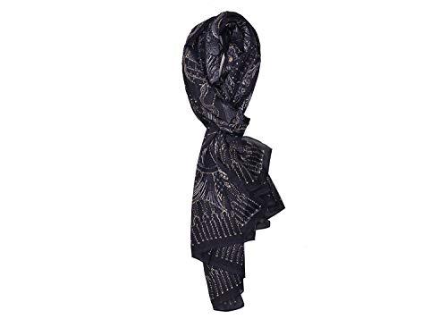 Roberto Cavalli Women's Black Geometric Print Silk Scarf 26