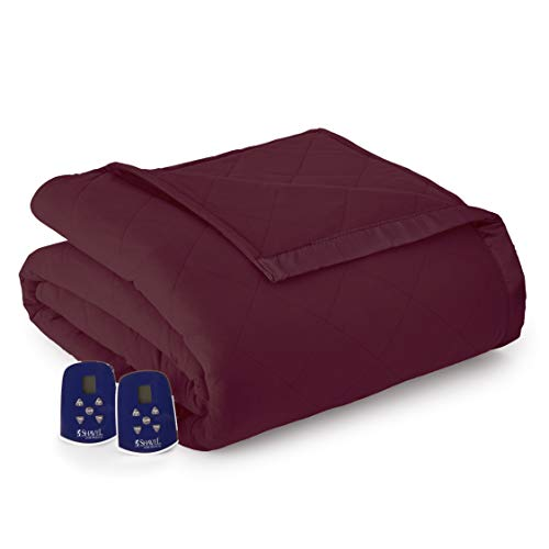 Thermee Micro Flannel Electric Blanket, Burgundy, Twin