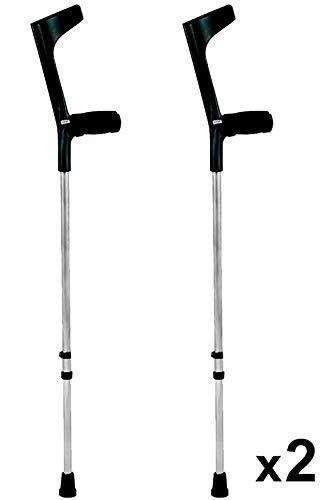 KMINA - Muletas adulto regulables aluminio, Muletas ortopédicas, Muletas ergonomicas, Muleta COMFORT BASIC Pack de 2 unidades