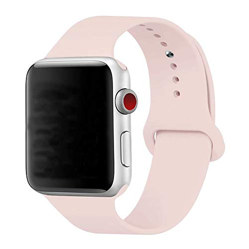 YC YANCH Compatible for Apple Watch Band,Soft Silicone Sport Band Replacement Wrist Strap Compatible for iWatch Series 4,Series 3/2/1 Nike+,Sport,Edition,42mm 44mm S/M,pinksand