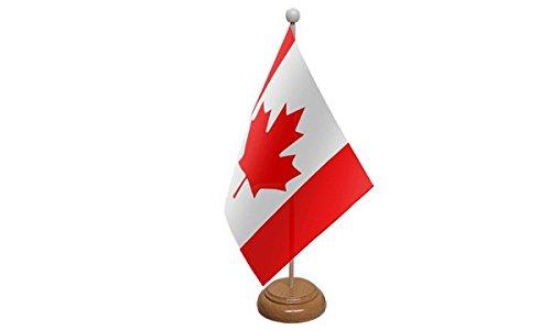 ukflagshop 22,9x 15,2cm Canadá Canadiense visualización grande bandera de mesa con base de madera y poste de...