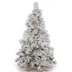 Vickerman 4.5' Flocked Alberta Artificial Christmas Tree with 250 Multi-Colored LED Lights