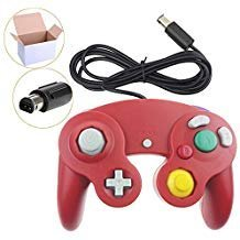 Poulep 1 Pack Classic Wired Gamepad Joystick Controller for Wii Game Cube Gamecube (Red) ()