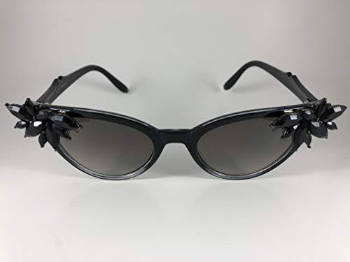 Hand Embellished Jet Rhinestones & Crystals Sunglasses, Sunglasses, Vintage, Rockabilly, Cat Eye Sunglasses, Pinup Sunglasses, Retro Sunglasses, eyewear, vlv
