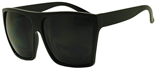 XL Oversized Square Trapezoid Flat Top Trendy Large Sunglasses (Black Black)