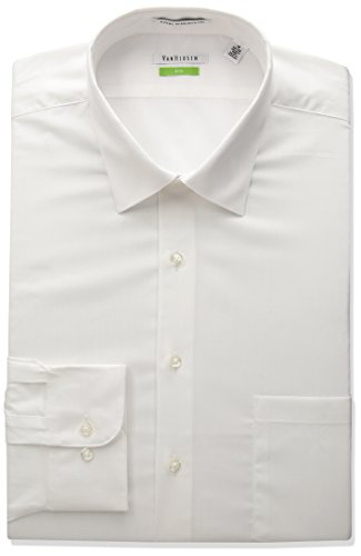 Van Heusen Men's Tall Herringbone Big Fit Solid Spread Collar Dress Shirt, White, 19