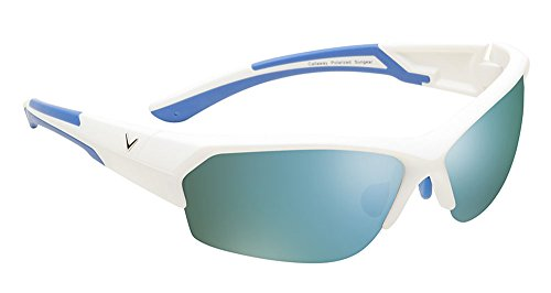 - Callaway  Sungear Raptor Golf Sunglasses - Matte White Plastic Frame, Gray Lens w/Green Mirror