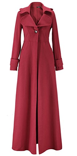 Kearia Women Elegant Long Sleeves Full length Woolen Blend Long Trench Coat Jacket Red (Long Red Trench Coat)