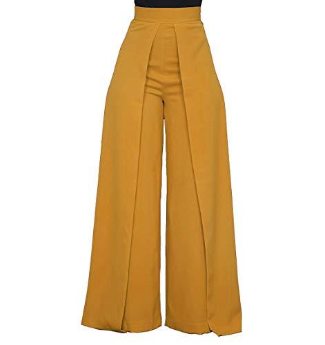 Women's High Waisted Palazzo Pants - Elegant Wide Leg Flare Pants Head Turner Yellow Small ()