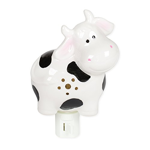 (Smiling Cow Black White 5.5 Inch Porcelain Swivel Plug In Decorative Night)