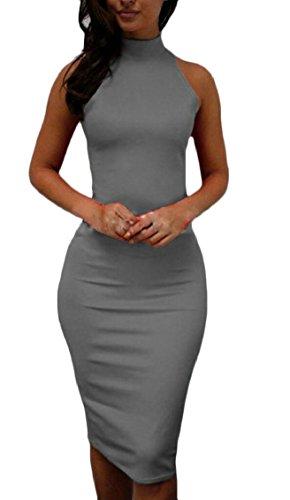 Bodycon Midi Clubwear Grey s Dress Sleeveless Jaycargogo Party Women Halter Sexy q1w6FxFOU
