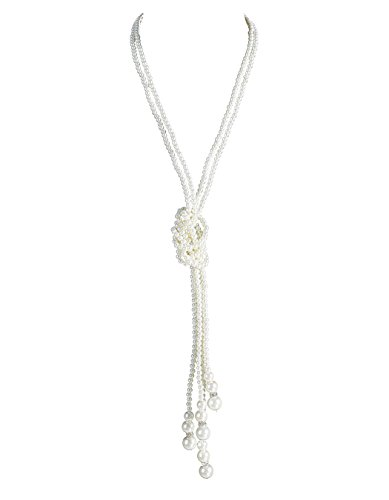 Emust Women's Art Deco Gatsby Inspired Flapper Pearl Beads Necklace White Size One Size (Flapper Apparel)