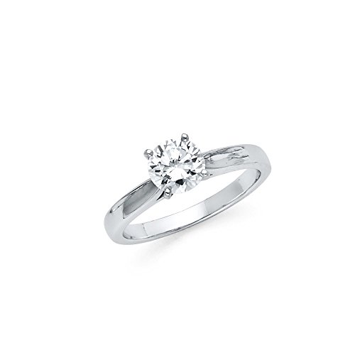 Jewels By Lux 925 Sterling Silver Cathedral Set Round Solitaire CZ Cubic Zirconia Engagement Ring Size 6