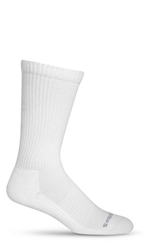 Graduated Compression Socks 15-20 mmHg Padded Sole - Crew (Mid-Calf) (US W 13+/M 12-15 (XL), White)