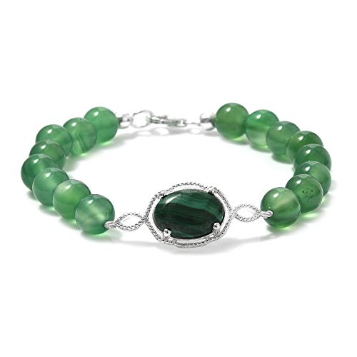 925 Sterling Silver Platinum Plated Round Malachite Beads Strand Bracelet for Women Jewelry Gift 7.25