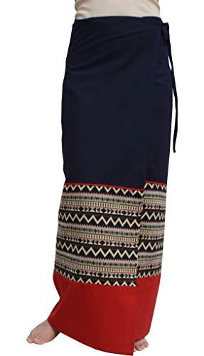 RaanPahMuang Thick Woven Cotton Thai Traditional Wrap Skirt with Waist Ties, Medium, Zig Zag - Navy ()