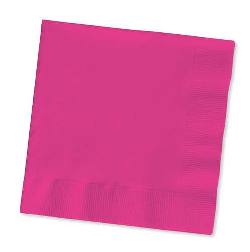 Hot Magenta Luncheon Napkins - 3 Ply, 50 Count - Hot Pink Napkins